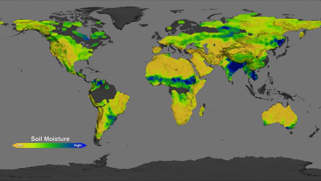 نقشه جهانی رطوبت خاک منتشر شده توسط ناسا